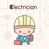 Cute chibi kawaii characters. Alphabet professions. Letter E - Electrician.