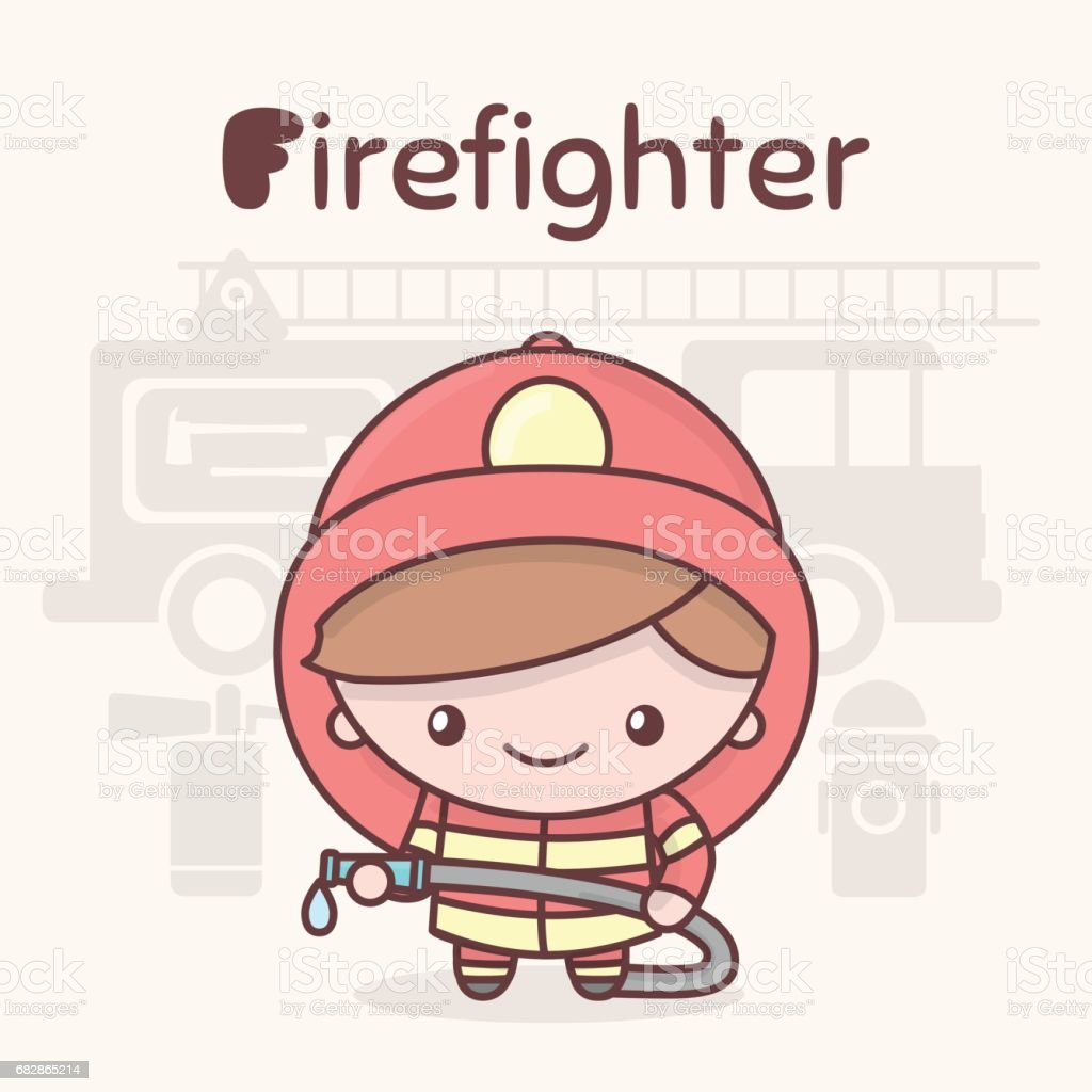 Cute Chibi Kawaii Characters Alphabet Professions Letter F ...
