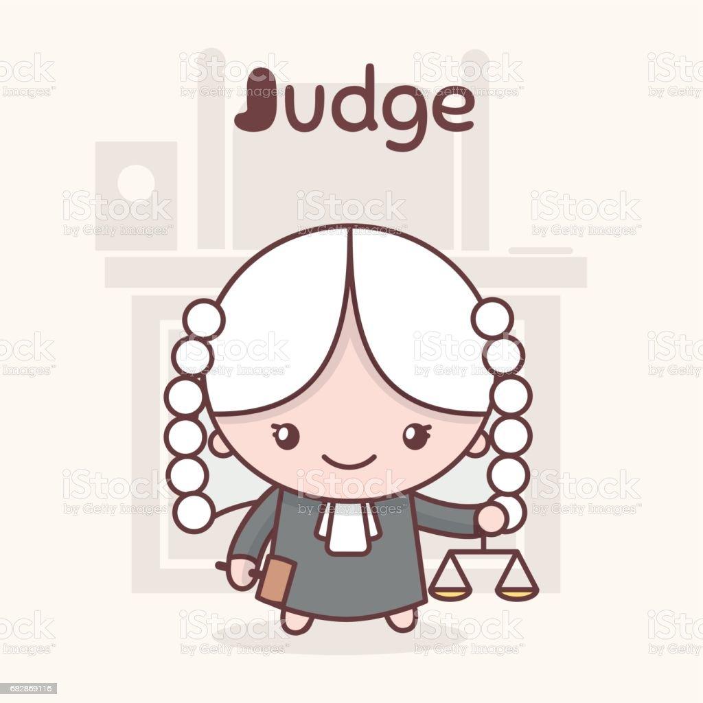 かわいいちびかわいいキャラアルファベットの職業手紙 j 裁判官 の