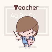 Cute chibi kawaii characters. Alphabet professions. Letter T - Teacher.