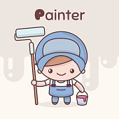 Cute chibi kawaii characters. Alphabet professions. The Letter  P - Painter.