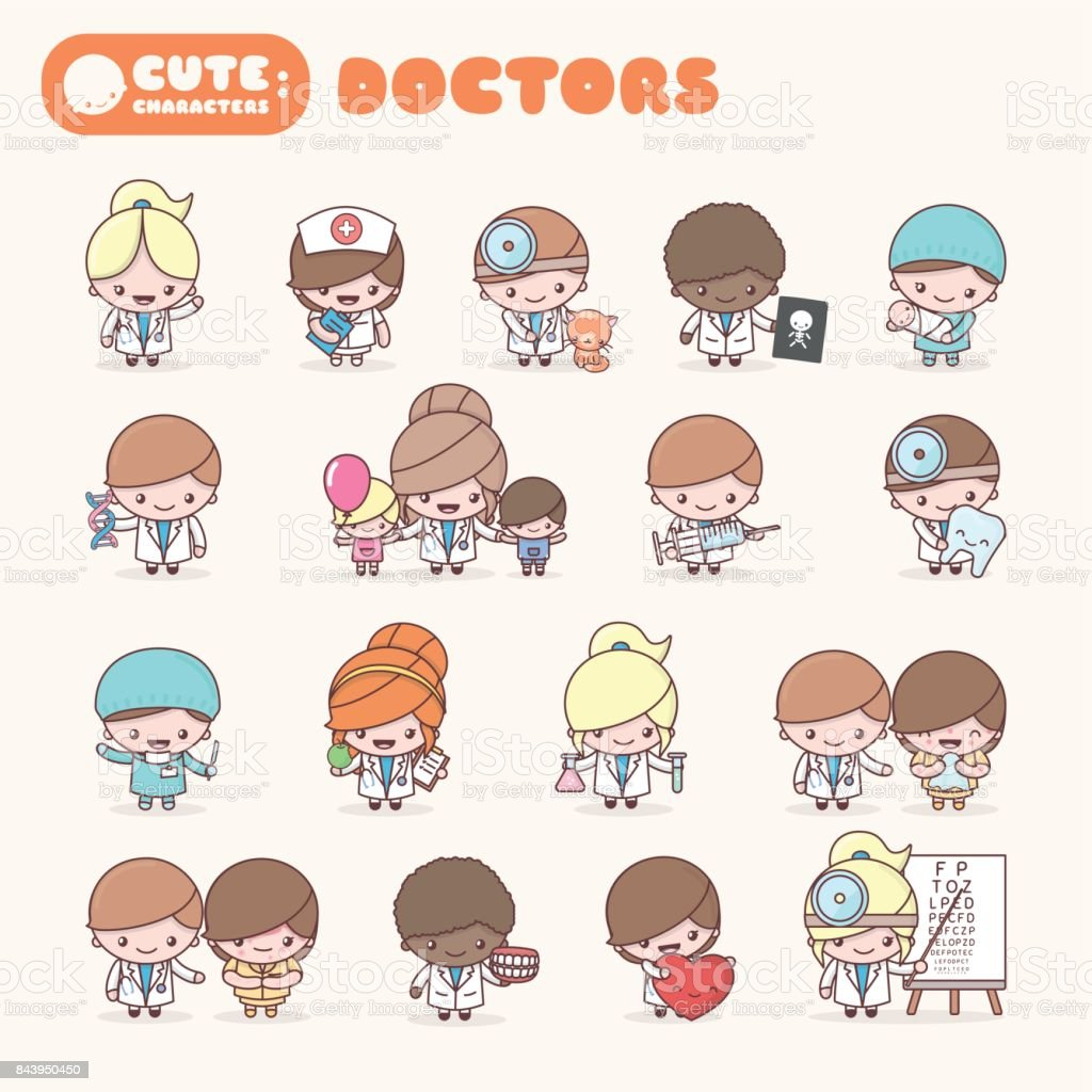 cute chibi kawaii characters profession set doctors stock