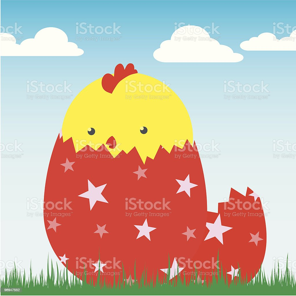 cute chick in egg - vector royalty-free cute chick in egg vector stock vector art & more images of animal