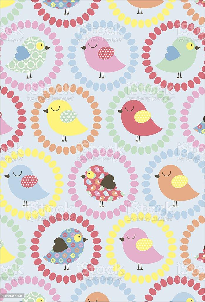 Cute Chick & Petal Pattern royalty-free stock vector art