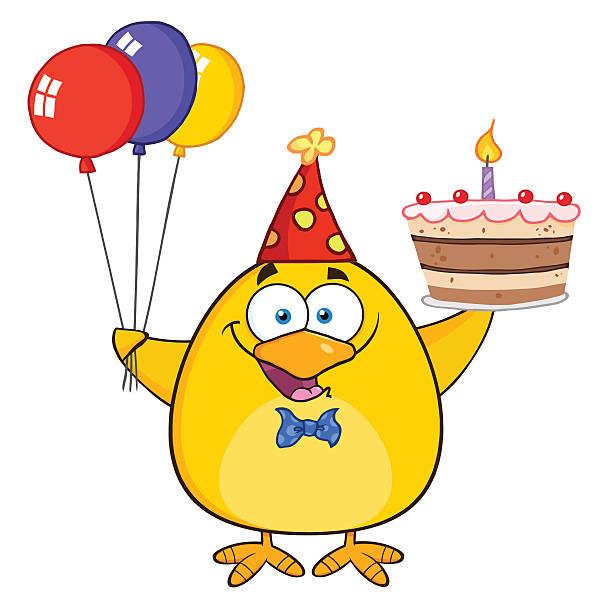 Mignon Chick portant Chapeau tenant un gâteau d'anniversaire et de Ballons - Illustration vectorielle