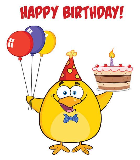 Mignon Chick portant chapeau d'anniversaire avec un gâteau et texte - Illustration vectorielle