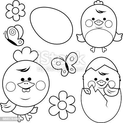 Ilustración de Lindo Pollo Y Los Huevos Blanco Y Negro Para Colorear ...