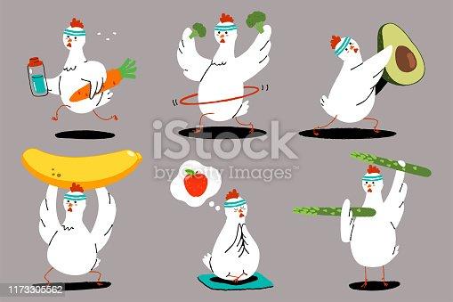 Chicken, food, fitness vector cartoon character set.