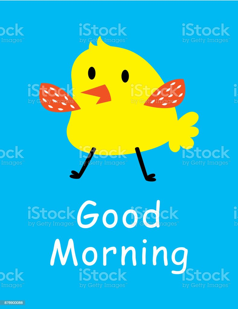 Cute Chicken Good Morning Greeting Card Stock Vector Art More