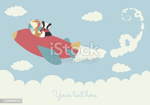 Cute template babies children birthday greeting card invitation. Freedom adventure sky clouds airplane. Landscape template. Funny cartoon animals fox badger.