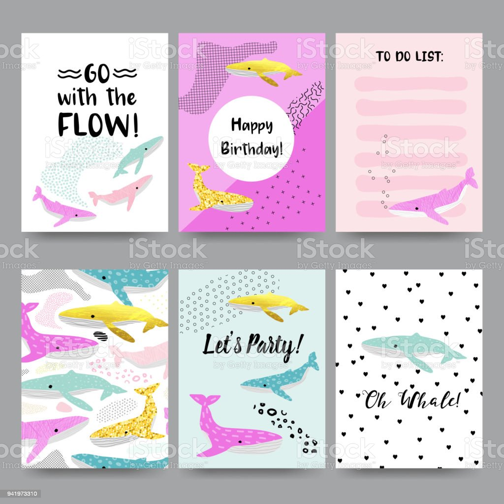 Cute Child Cards With Whales Happy Birthday Invitation