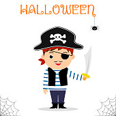 Cute child dressed in a pirate costume in a hat and with a sword celebrating at a Halloween party isolated on a white background. Flat style, cartoon, vector.