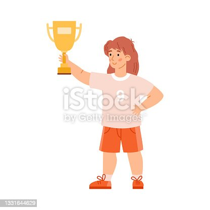 istock Cute child girl holding gold trophy prize, flat vector illustration isolated. 1331644629