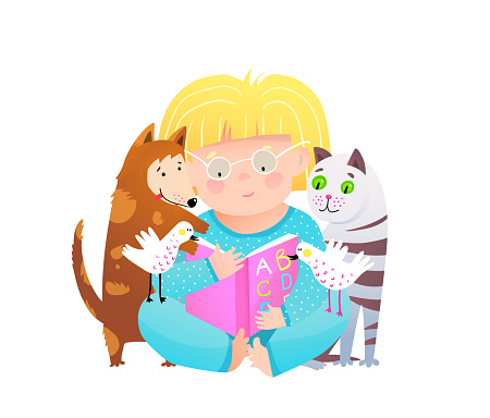 Cute child girl read book to cat and dog friends. Study and education for kids vector cartoon clipart.