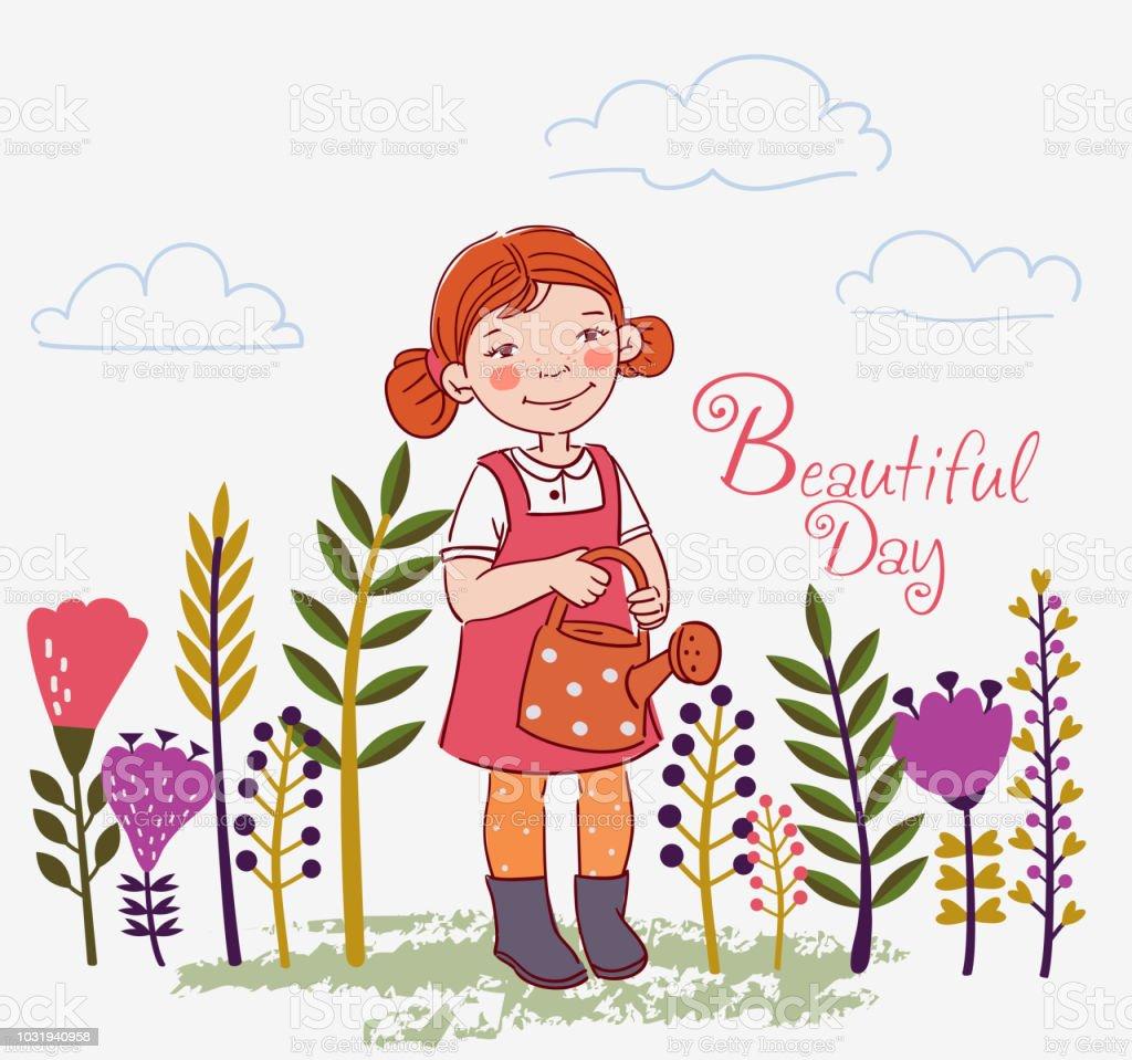 Cute child girl watering flowers in summer garden. Outdoor activities on vacation vector art illustration