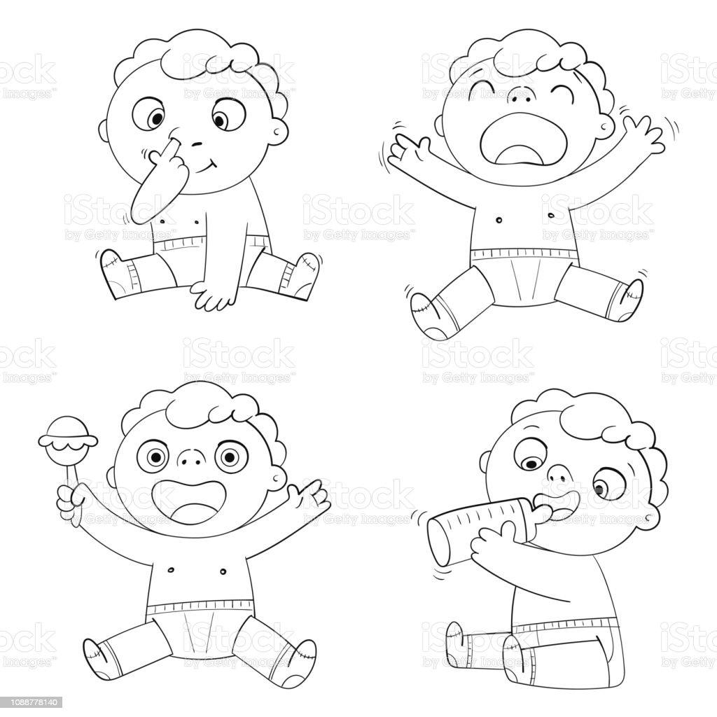 Cute Child Sedang Makan Susu Dari Botol Anak Itu Bermain Dengan Deru Dan Tertawa Bayi Terisak Ilustrasi Stok Unduh Gambar Sekarang Istock