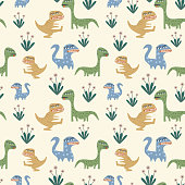 Cute childish drawing of dinosaur seamless pattern vector. Scandinavian creative hand drawn monster with floral illustration background for fashion textile print and wrapping.