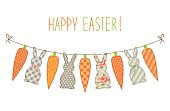 Cute childish Easter bunting with bunnies and carrots and hand written text for your decoration