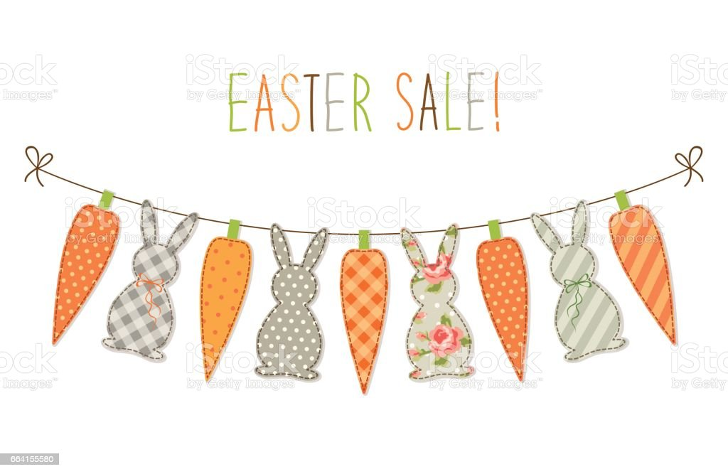Cute childish Easter bunting with bunnies and carrots and hand written text cute childish easter bunting with bunnies and carrots and hand written text - immagini vettoriali stock e altre immagini di amore royalty-free