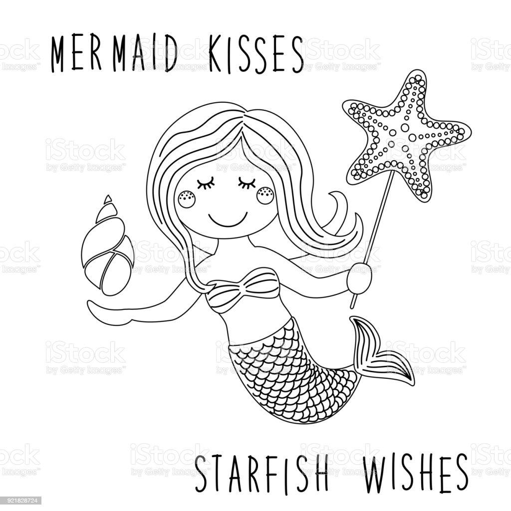 海のヒトデぬりえとしてシェルで人魚のかわいい幼稚な手描き漫画の