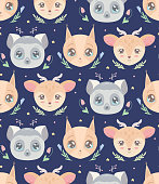 istock Cute childish pattern with heads of animal and flowers on blue background. Vector texture with lemur, squirrel and deer with stars and floral pattern. Cartoon night animalistic wallpaper 1329802202