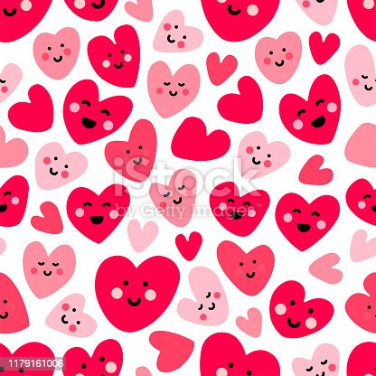 istock Cute childish seamless pattern background with funny kawaii cartoon characters of hearts 1179161006