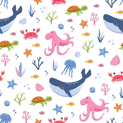 Cute childish seamless pattern with sea animals and seaweeds on white background