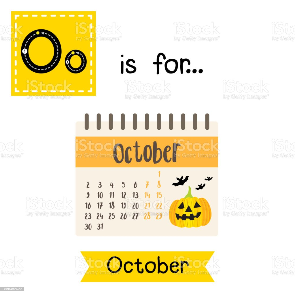 cute children abc alphabet o letter tracing flashcard of october