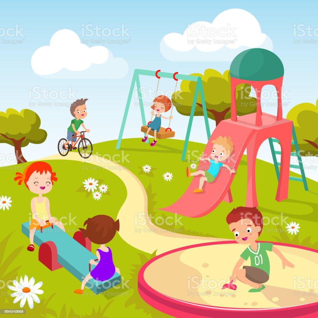Cute children at playground. Happy children playing in summer park vector background vector art illustration