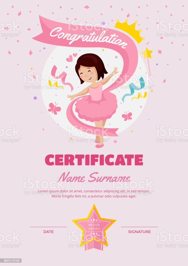 Cute children ballet class certificate of achievement and cute children ballet class certificate of achievement and appreciation template royalty free cute children ballet yelopaper Choice Image
