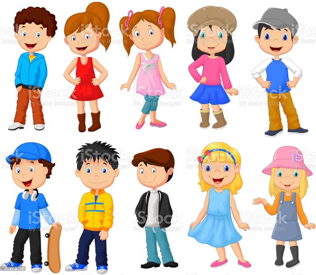 Cute children cartoon collection vector art illustration