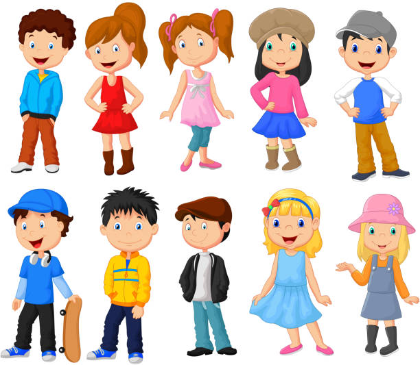Cute children cartoon collection vector art illustration