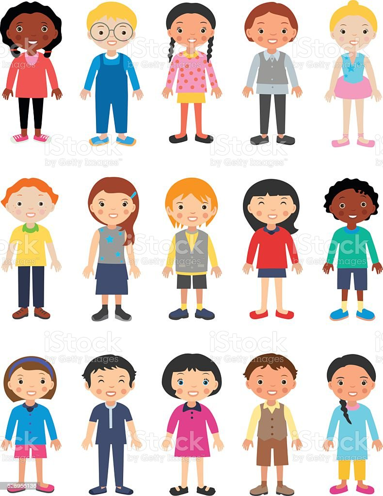 Cute Children Characters vector art illustration
