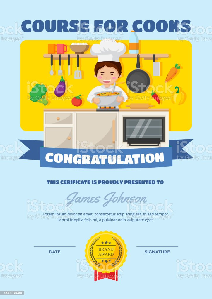 Cute children cooking course certificate of achievement and cute children cooking course certificate of achievement and appreciation template royalty free cute children cooking yelopaper Choice Image