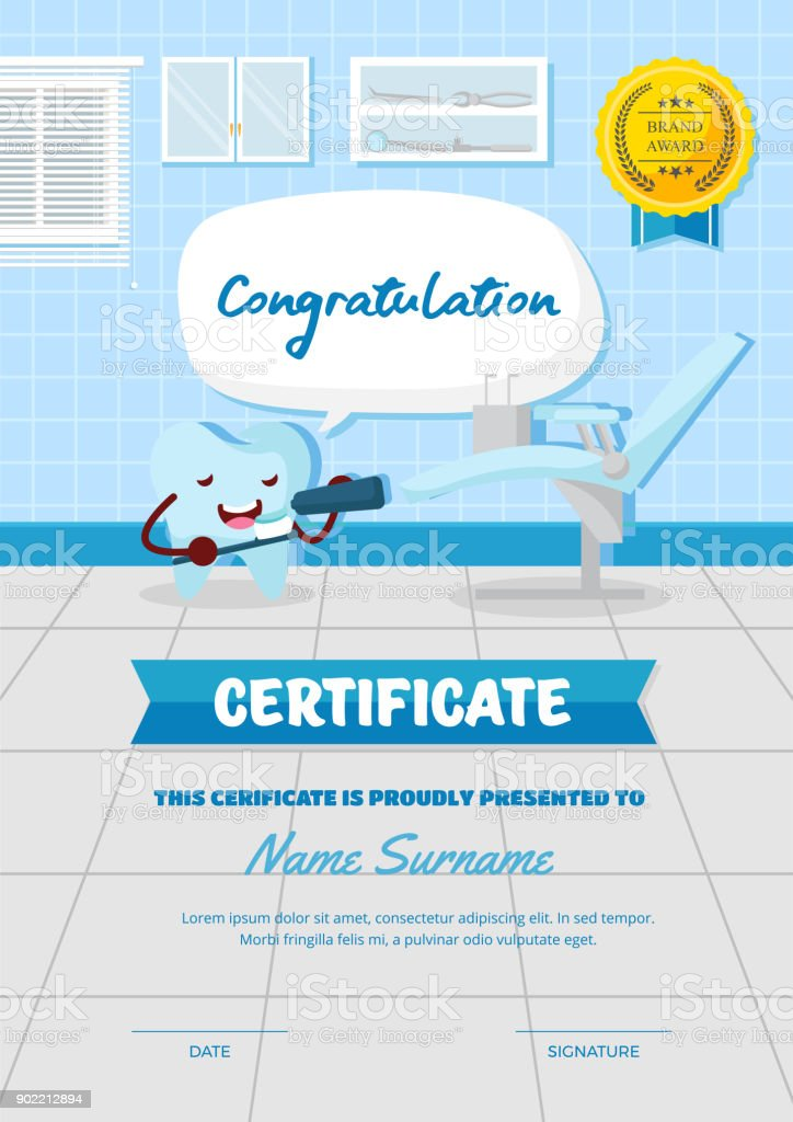 Cute Children Dental Health Check Certificate Of Achievement And