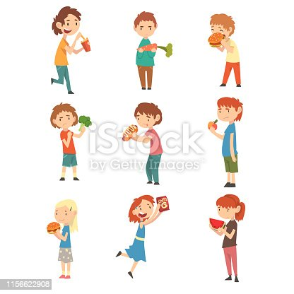 istock Cute Children Do Not Like Vegetables and Fruits Set, Boys and Girls Enjoying Eating of Fast Food Vector Illustration 1156622908