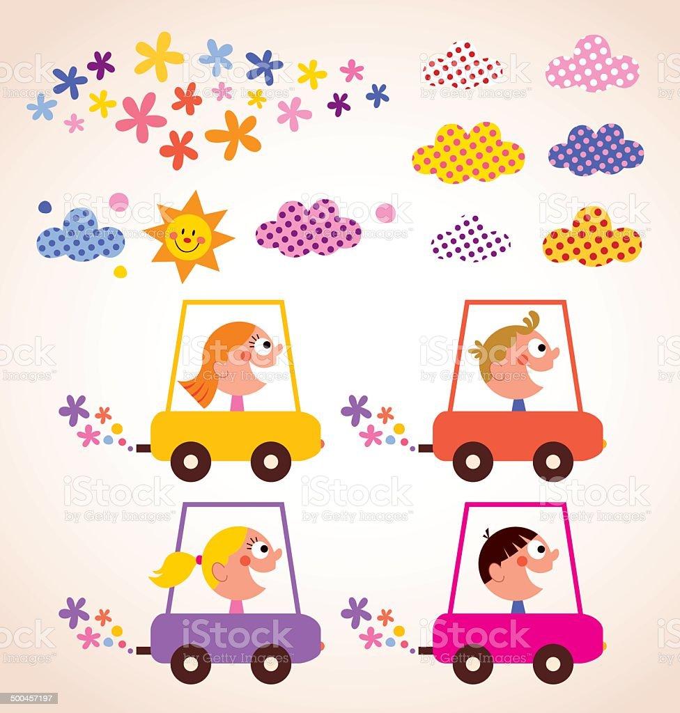 かわいいお車のお子様にはお子様向けのアクティビティデザイン要素セット