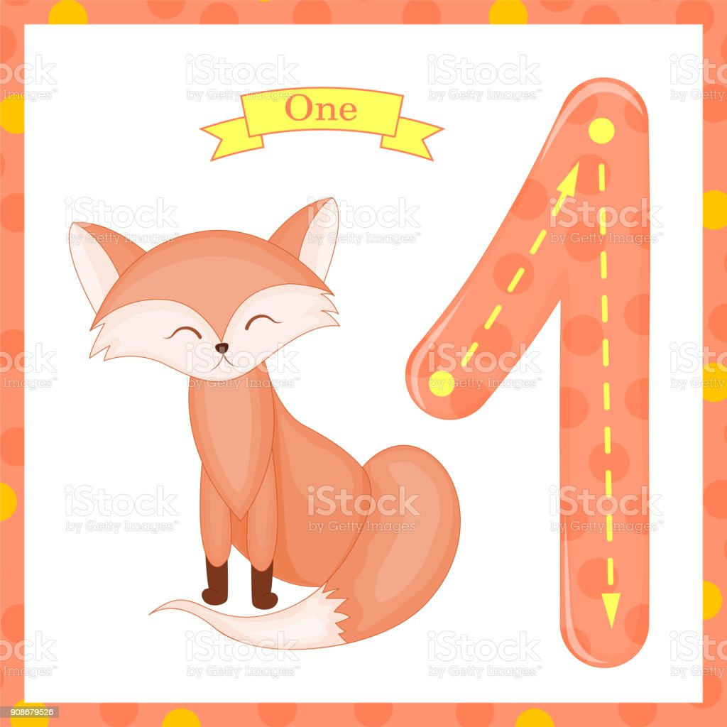 Süße Kinder Flashcard Nummer Eins Tracing Mit 1 Fox Für Kinder ...