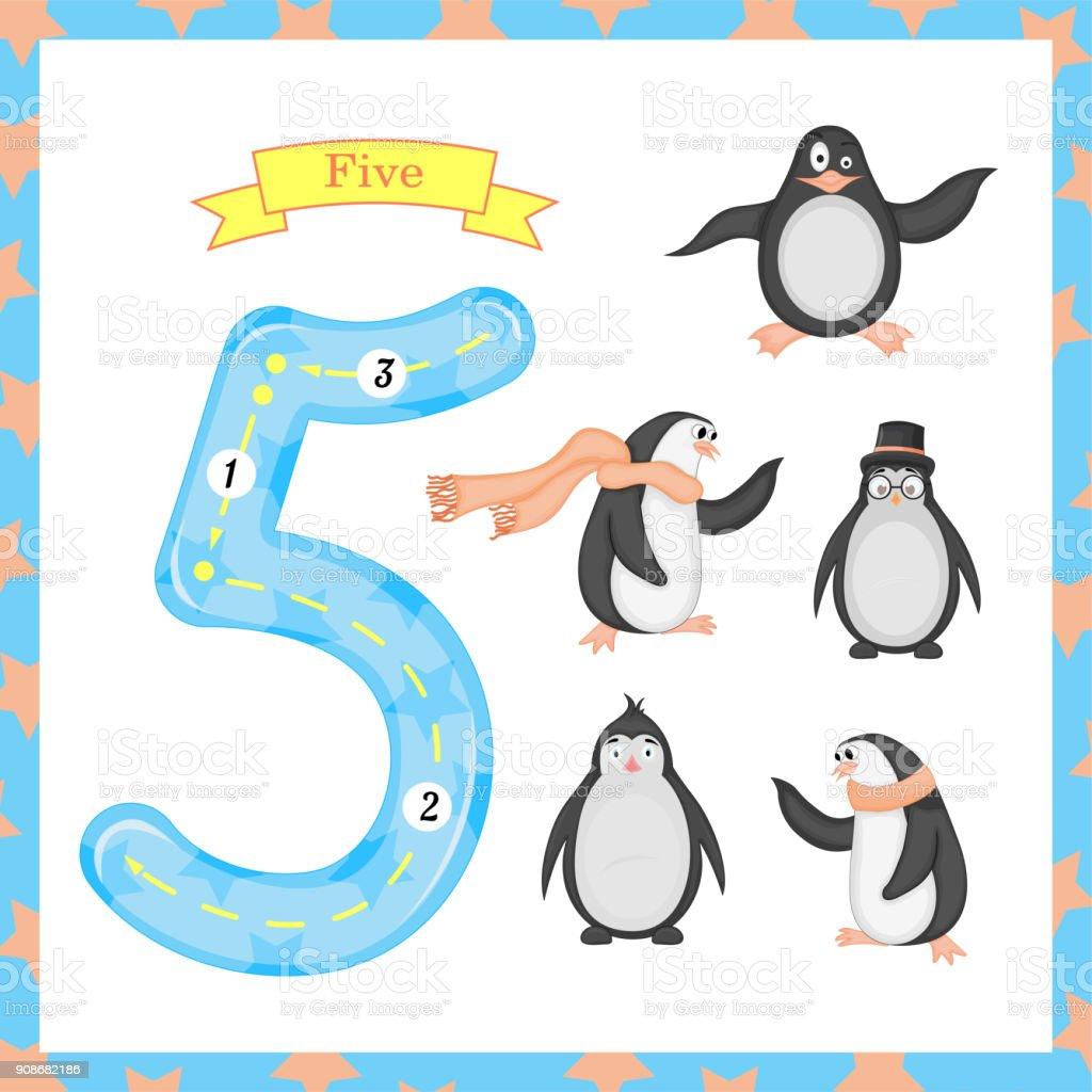 Süße Kinder Flashcard Nummer Eins Tracing Mit 5 Pinguine Für Kinder ...
