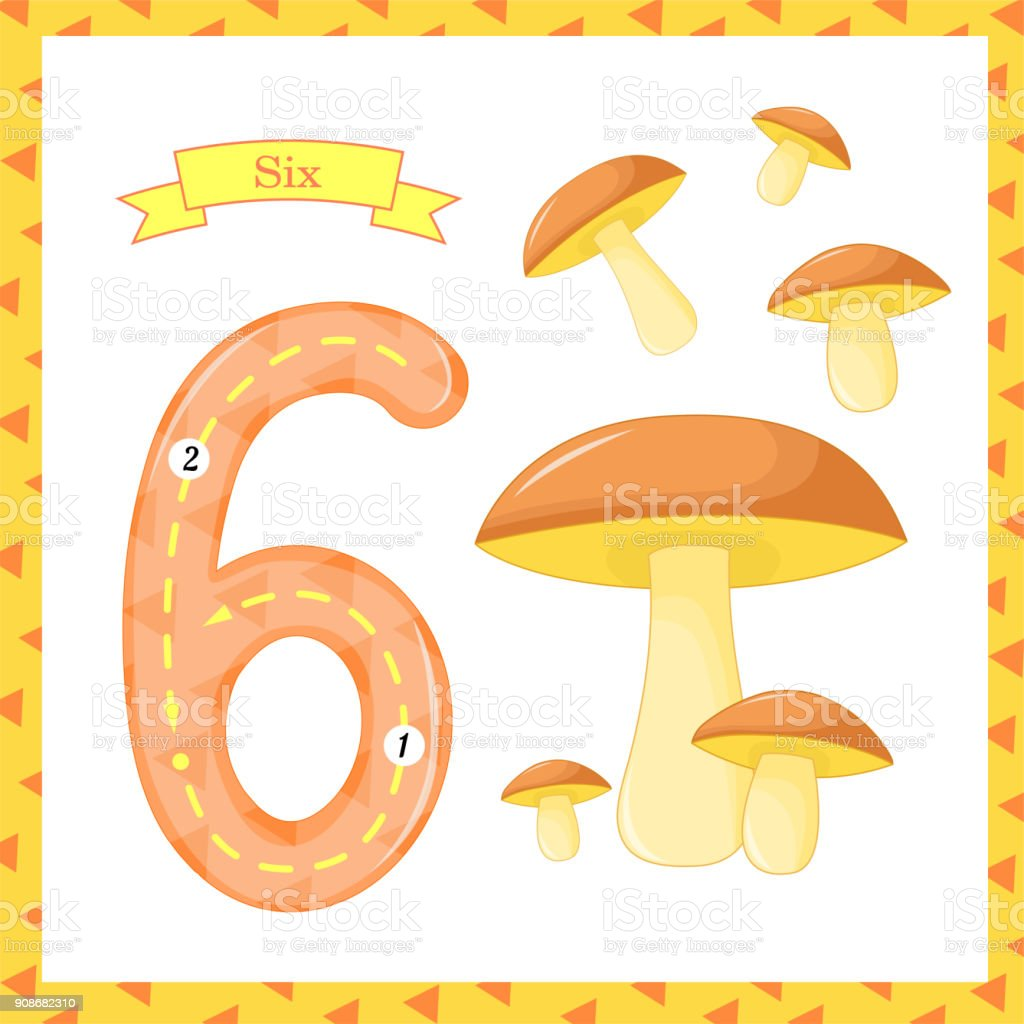Cute Children Flashcard Number One Tracing With 6 Mushrooms For Kids ...