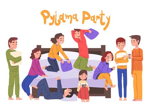 Cute Children Having Fun on Slumber Party, Boys and Girls Sitting on Bed Wearing Pajamas Cartoon Style Vector Illustration