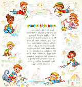 Cute children paint picture together