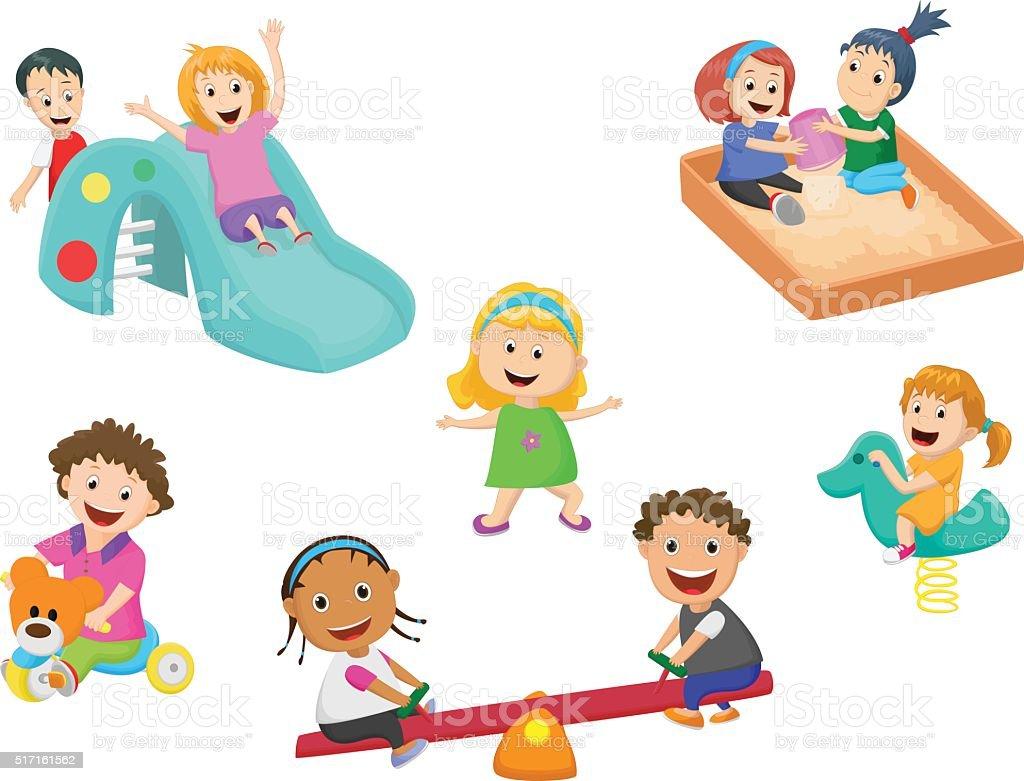 かわいい子供のおもちゃで遊ぶ 幼稚園 - おもちゃのベクターアート素材や