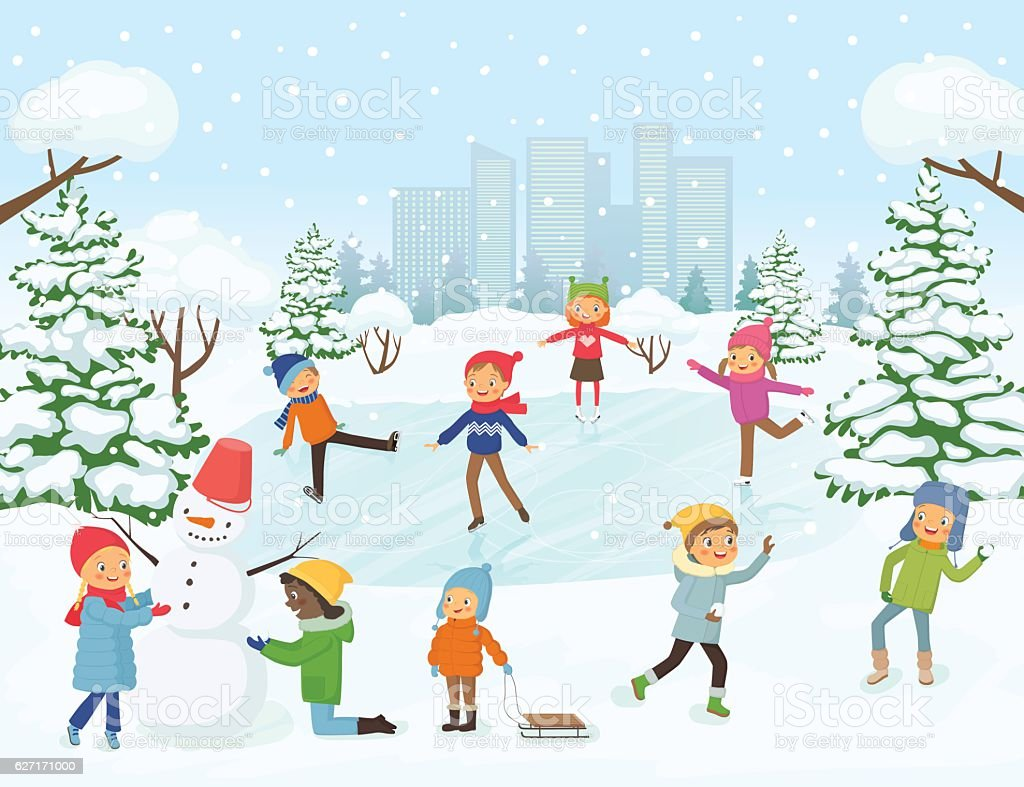Cute children playing outside vector art illustration