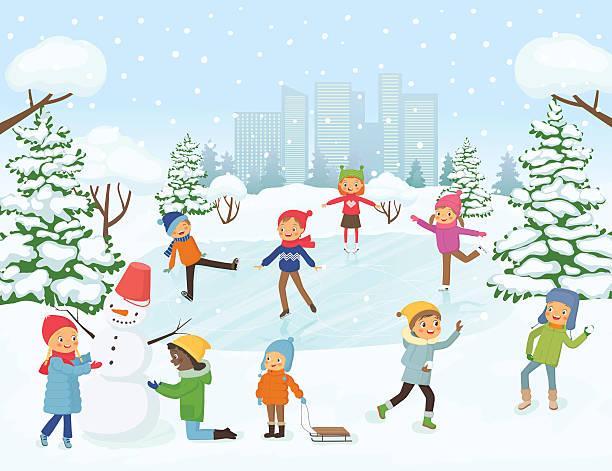 Cute children playing outside vector art illustration