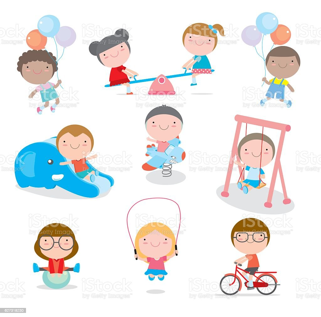 cute children playing with toys in playground, kids vector art illustration