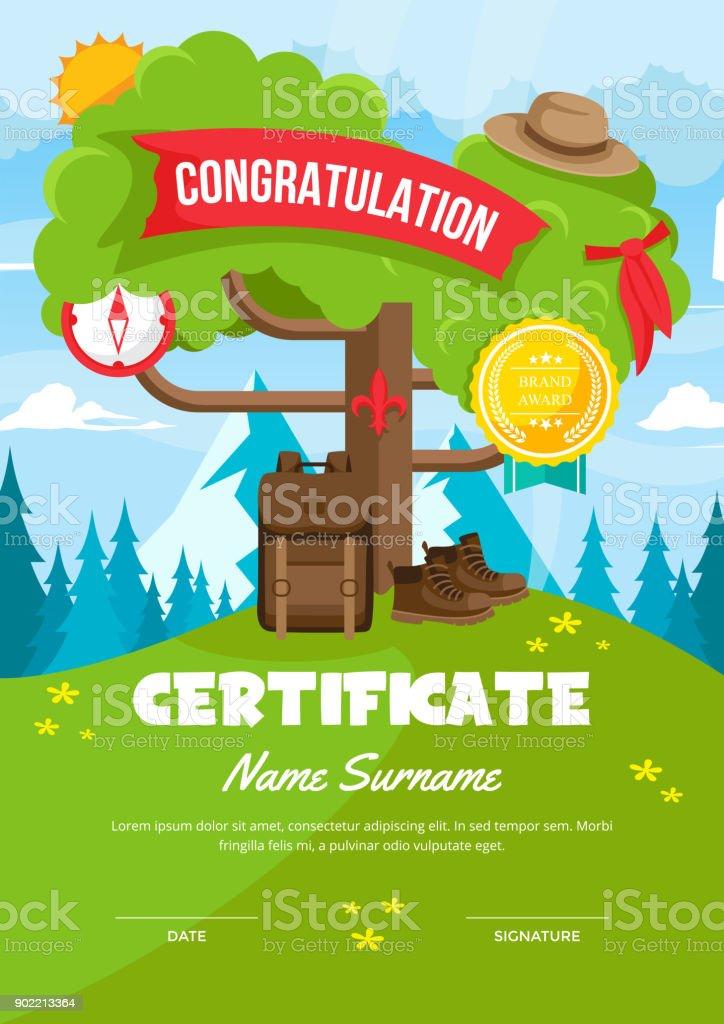 Süße Kinder Scout Abenteuer Camp Certificate Of Achievement Und ...