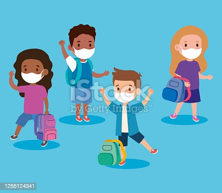 istock cute children wearing medical mask to prevent coronavirus covid 19, students children wearing protective medical mask 1255124341