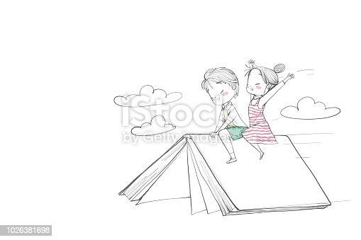 istock Cute childrens boy and girl riding a book. 1026381698