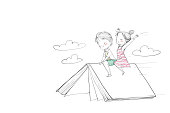 Cute children boy and girl riding a book. They are flying above the sky laugh and happy. Vector Illustration hand drawn.